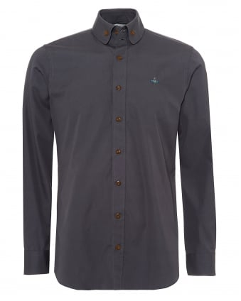 Vivienne Westwood Mens Buttoned Collar Shirt, Contrast Button Charcoal Grey Shirt
