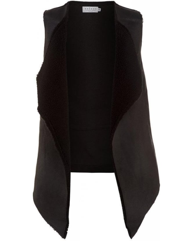 Velvet by Graham & Spencer Vivikah Black Sherpa Vest, Faux Shearling Gilet