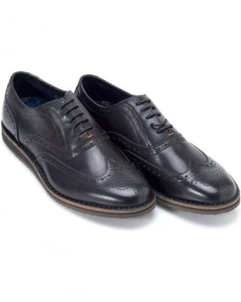 Volusel Black Brogue Lace Up Shoes