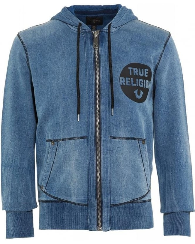 True Religion Jeans Washed Indigo Zip Through Logo Hoodie