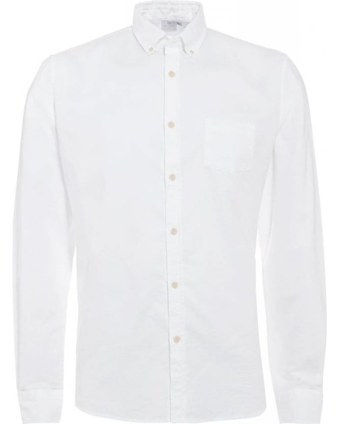Sunspel White Button Down Twill Cotton Oxford Shirt