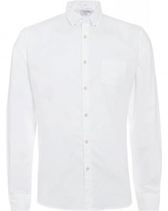 White Button Down Twill Cotton Oxford Shirt