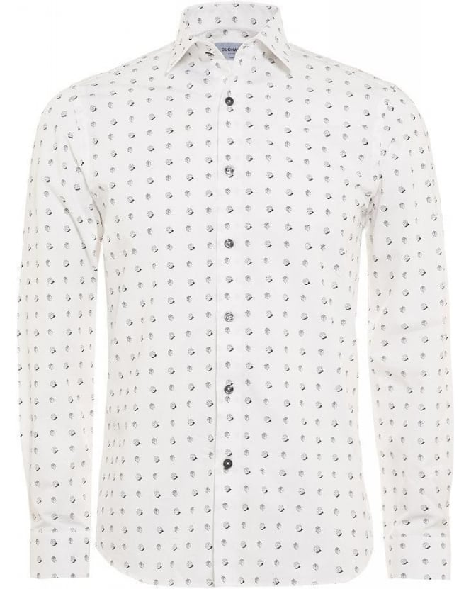Duchamp White Dice Print Slim Fit Shirt