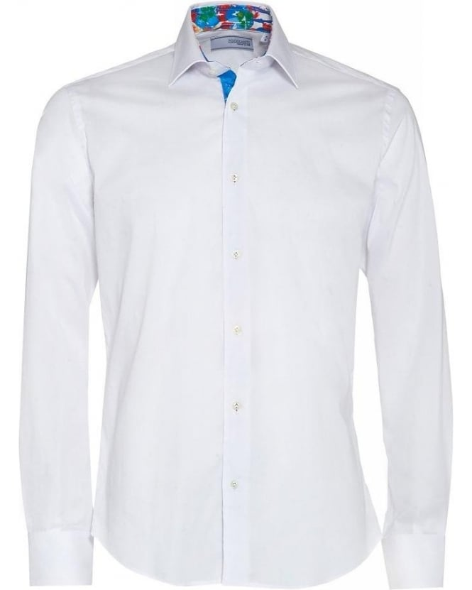 Poggianti Shirts White Floral Insert Slim Fit Shirt