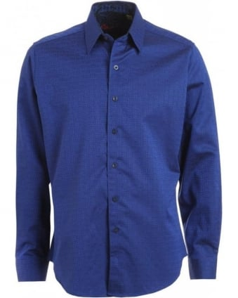 'White Horse' Royal Blue Jacquard Shirt