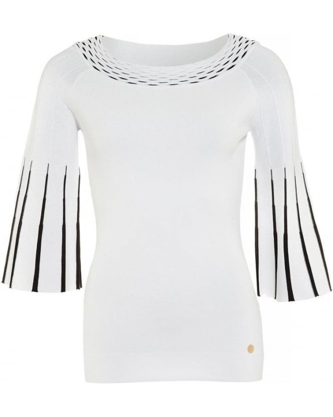 Versace Collection White Jumper Three Quarter Bell Sleeves Knit
