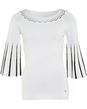White Jumper Three Quarter Bell Sleeves Knit