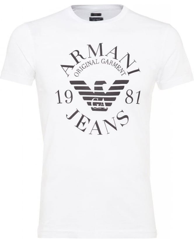 Armani Jeans White Logo T Shirt Slim Fit Tee