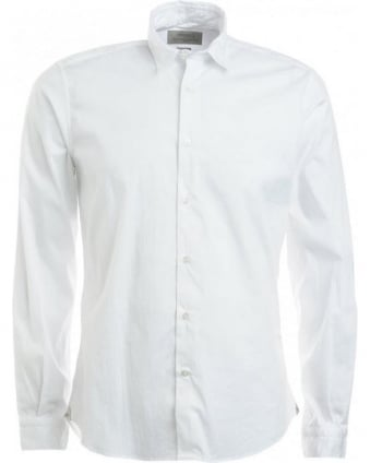 White Long Sleeve Button Up Stretch Shirt