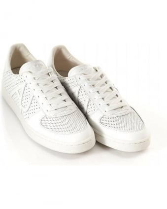 White Perforated Welt Trainers
