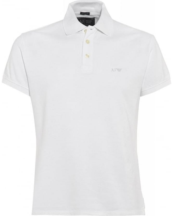 Armani Jeans White Polo Shirt, Muscle Fit Polo