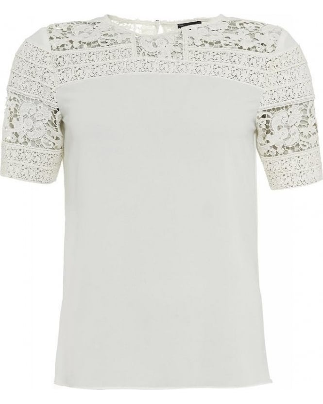 Armani Jeans White Short Sleeve Lace Panel Top