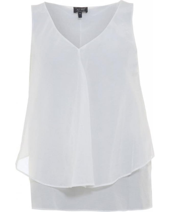 Armani Jeans White Sleeveless Vest Top