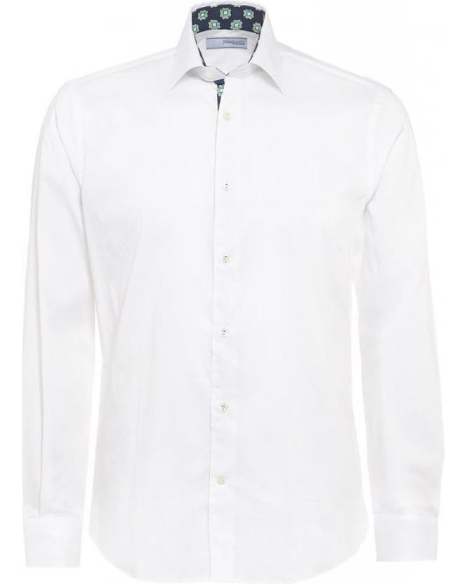 Poggianti Shirts White Slim Fit, Geometric Trim Shirt