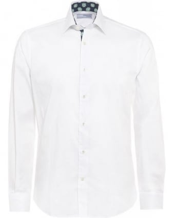 White Slim Fit, Geometric Trim Shirt
