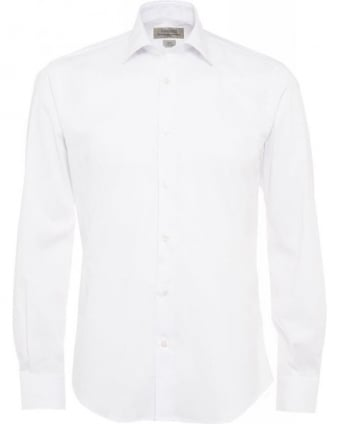 White Slim Fit Stretch Cotton Shirt