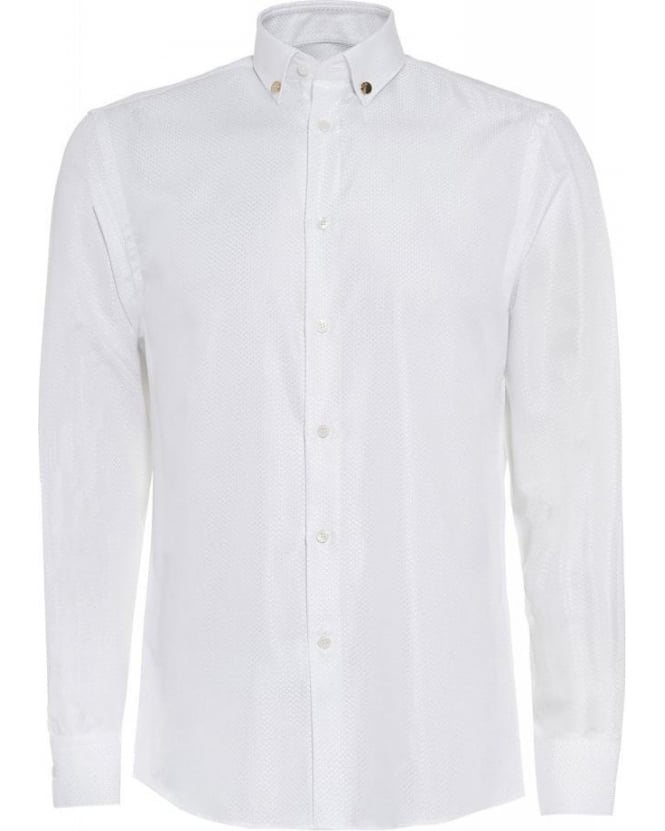 Versace Collection White Textured Long Sleeve Shirt