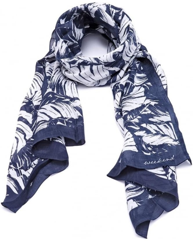 Max Mara Weekend Womens Agora Scarf, Leaf Print Navy White