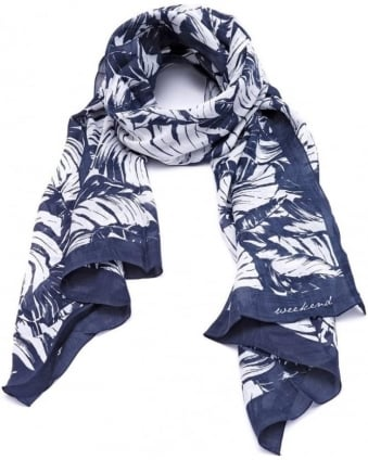 Womens Agora Scarf, Leaf Print Navy White