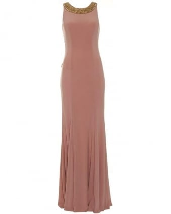 Womens Apollo Dress, Nude Embellished Maxi Dress