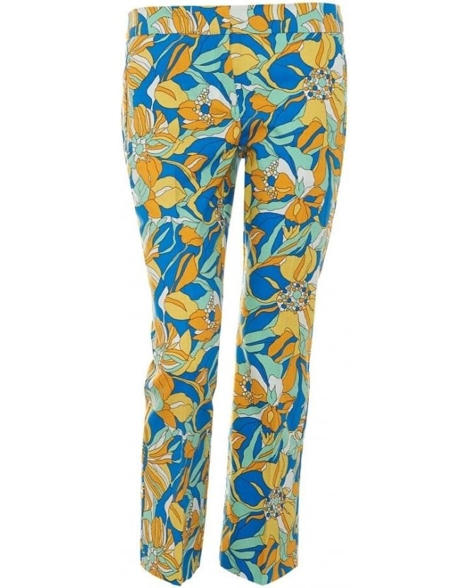 I Blues Womens Arbiter Trousers, Floral Straight Leg Cropped Trouser