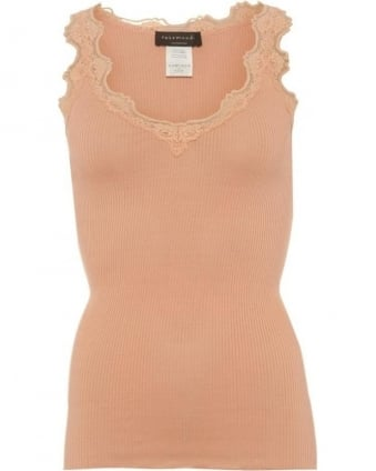 Womens Babette Top, Peach Pink Marble Silk Lace Vest Top