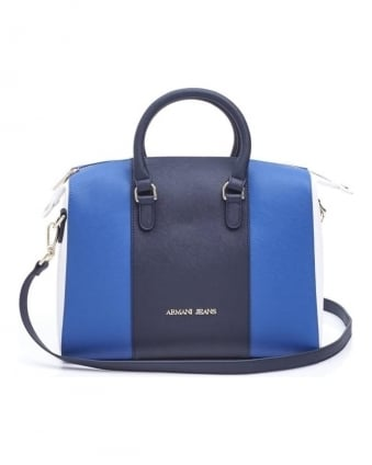Womens Bag, Navy Blue Black White Faux Leather Tote