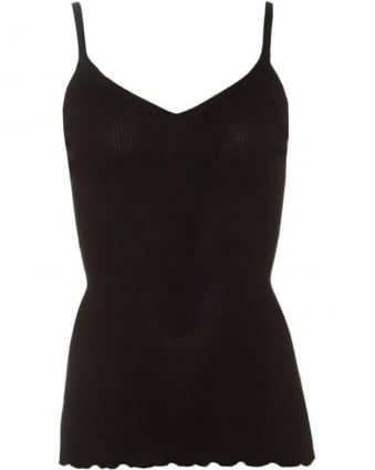 Womens Belle Vest Top, Black Silk Blend Strap Top