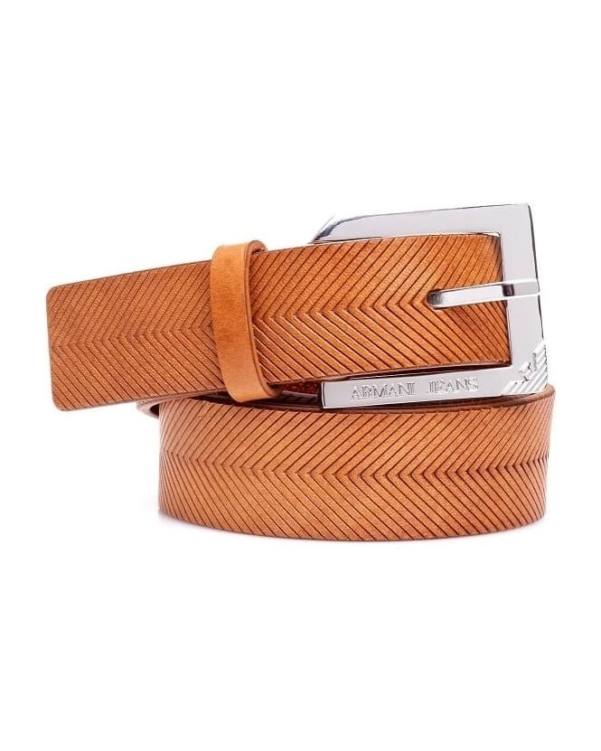 Armani Jeans Womens Belt, Tan Leather Silver Buckle