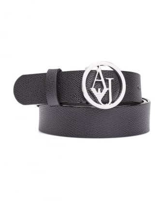 Womens Belt, Textured Leather Silver Logo Buckle