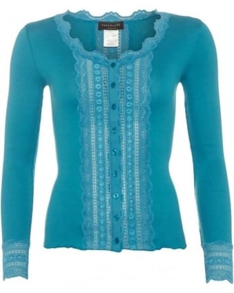 Womens Benita Cardigan, Deep Lagoon Blue Lace Panel Knitwear