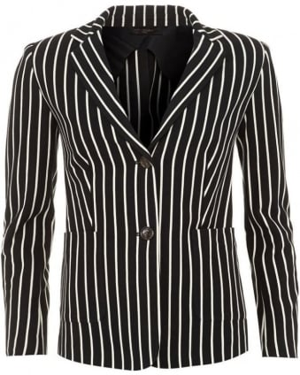 Womens Blazer Camilla Striped Black Ivory Jacket