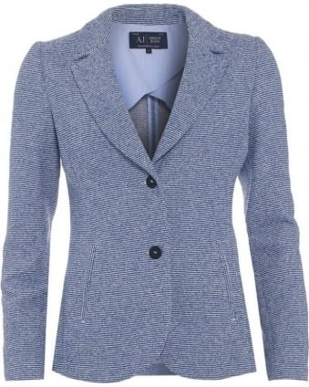 Womens Blazer Jacket, Blue Boucle