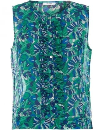 Womens Blitz Top, Emerald Green Floral Sleeveless Frill Vest