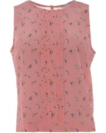 Womens Borneo Top, Pink Bird Print Sleeveless Silk Blouse