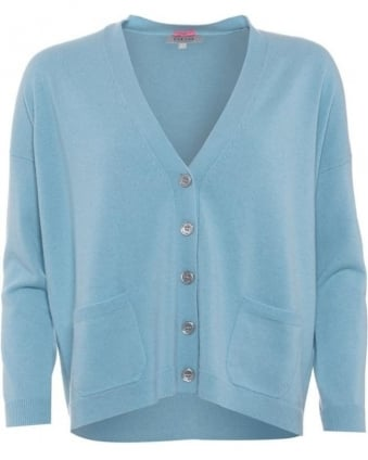 Womens Boyfriend Cardigan, Duck Egg Blue V-Neck