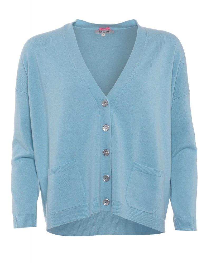 Womens Duck Egg Blue Cardigan 116