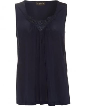 Womens Brenda Top, Navy Blue Sleeveless Blouse