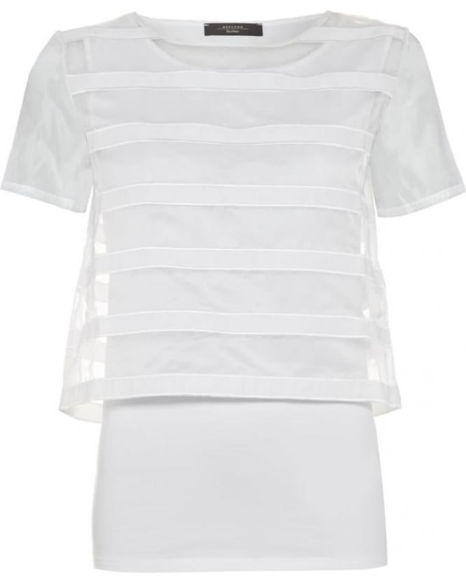 Max Mara Weekend Womens Bruno T-Shirt, White Stripe Layered Tee