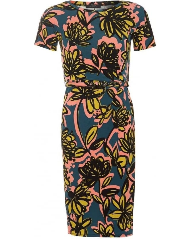 Max Mara Weekend Womens Caneva Dress, Green Yellow Floral Print Belt Dress