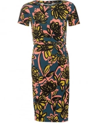 Womens Caneva Dress, Green Yellow Floral Print Belt Dress