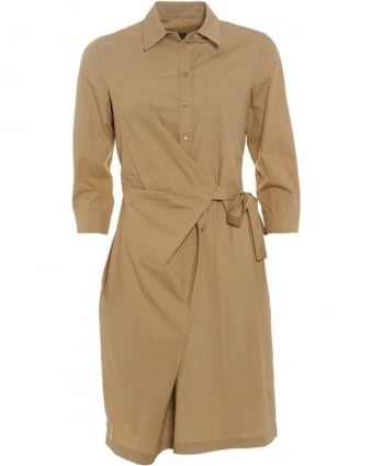 Womens Canossa Dress, Beige Wrap Tie Shirt Dress