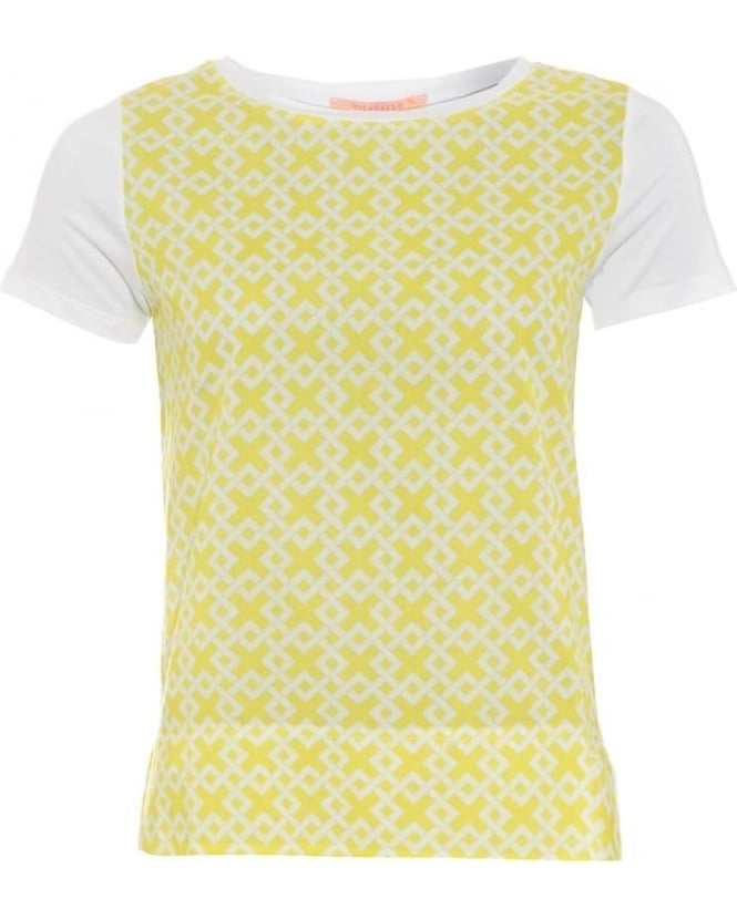 Vilagallo Womens Capri T-Shirt, White Yellow Geometric Tee