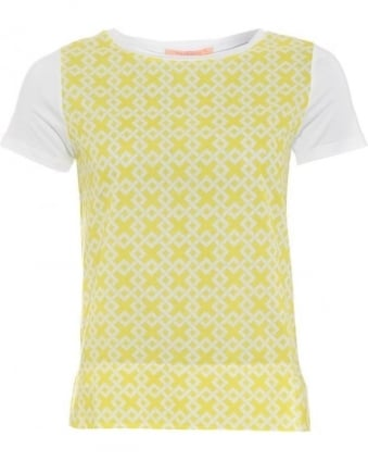 Womens Capri T-Shirt, White Yellow Geometric Tee