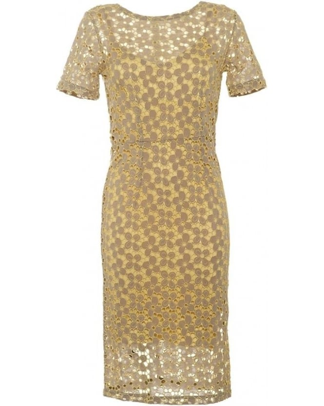 Body Frock Womens Cara Dress, Lemon Yellow Brocade Lace Dress