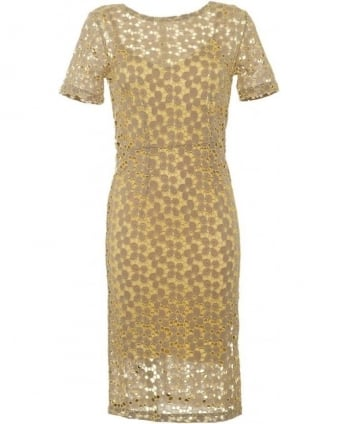 Womens Cara Dress, Lemon Yellow Brocade Lace Dress