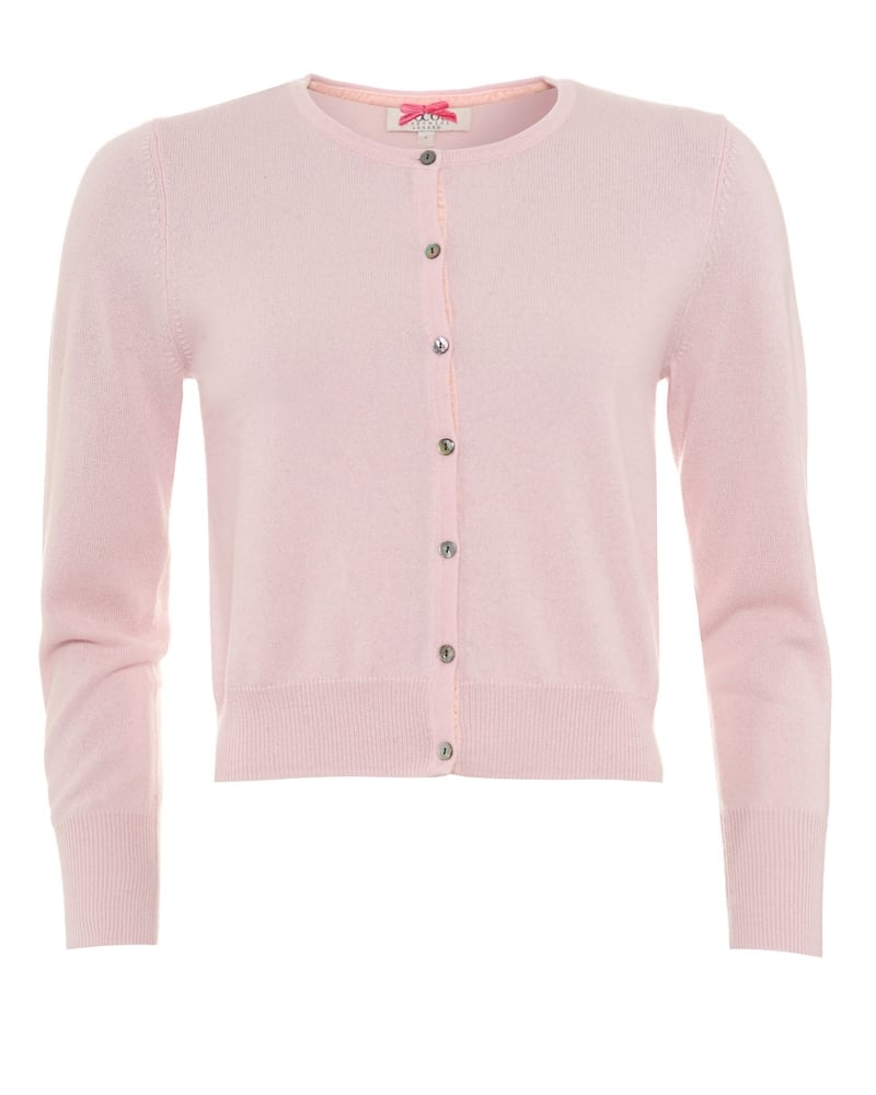 Cocoa Cashmere Womens Cardigan, Baby Pink Cropped Button Up Knit