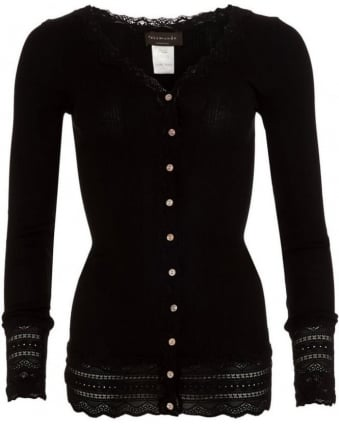 Womens Cardigan Benita Lace Black Silk Cardigan