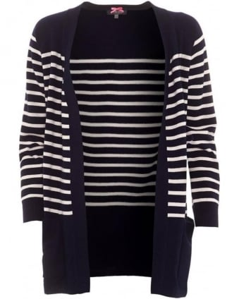 Womens Cardigan, Navy White Striped