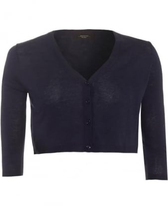Womens Cardigan Three Quarter Cropped Navy Blue Knit